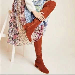 A by Anthropologie Suede Over The Knee Boots Tan